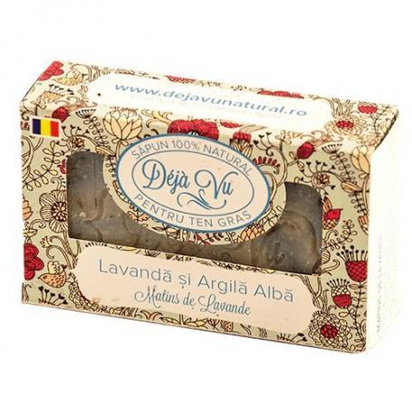 Sapun natural cu lavanda si argila alba, 90 g, Deja Vu