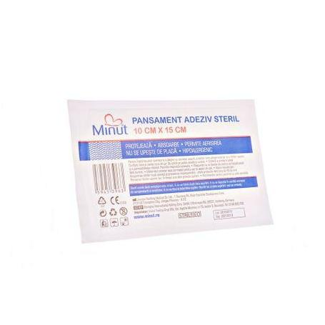 Pansament adeziv steril, 10 cm x 15 cm, Minut