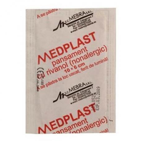 Medplast cu rivanol 10 cm x 6 cm x 150 buc/cutie, Mebra