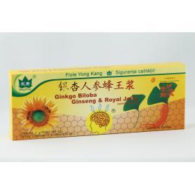 Ginkgo Biloba Ginseng si Royal Jelly,10 fiole, Yong Kang
