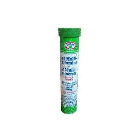 0 multivitamine + 5 minerale Efervescente, 20 tablete, Kruger