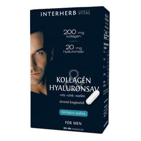 Colagen si acid hialuronic pentru barbati, 30 capsule, Interherb