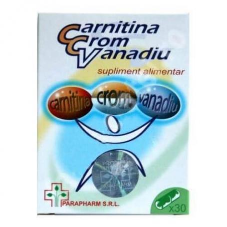 Carnitina Crom Vanadiu, 30 capsule, Parapharm