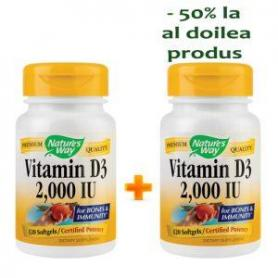 Vitamina D3 2000 UI Natures Way, 30+30 capsule, Secom