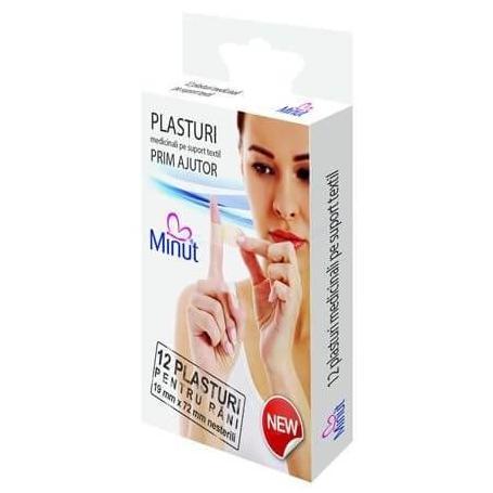 Plasturi sterili, plasturi rani 19 x 72 mm 12 buccutie Minut