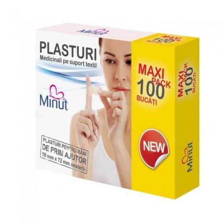 Plasturi sterili ingrijirea plagilor, 19X72, 100 buc, Minut