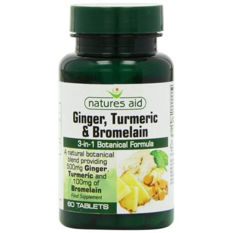 Ginger, Turmeric, Bromelain, 60 comprimate, Natures Aid pret, prospect