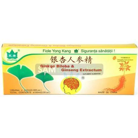 Ginkgo Biloba Ginseng Extractum Yong Kang 10 fiole buvabile