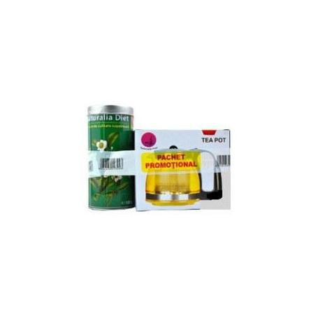 Pachet ceai verde superior 100g + ceainic 700 ml cadou Naturalia Diet