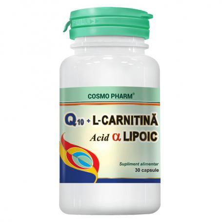Q10+L-Carnitina si Acid Lipoic, 30 capsule - Cosmopharm