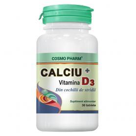 Calciu cu Vitamina D3, 30 tablete, Cosmopharm