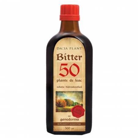 Bitter 50 Plante cu Ganoderma, 500ml, Dacia Plant