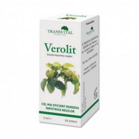 Verolit - solutie eficienta impotriva negilor si verucilor, 5 ml, Transvital