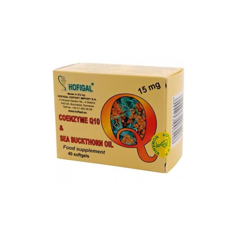 Coenzima Q10 in Ulei de Catina 15 mg, 40 capsule, Hofigal