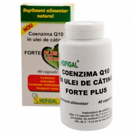 Coenzima Q10 in ulei de catina Forte Plus 60mg, 40 capsule, Hofigal
