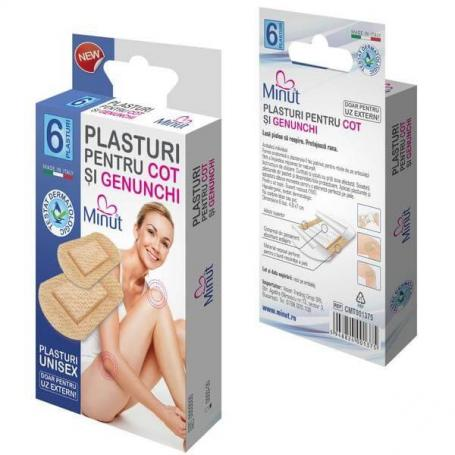 Plasturi cu pansament pentru genunchi si cot, 6 plasturi, Minut