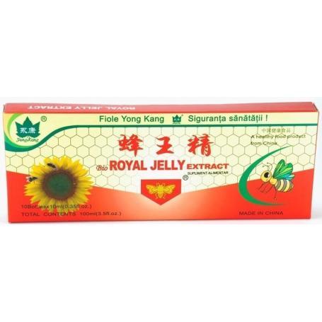 Royal Jelly 300 mg, Laptisor de matca proaspat 10 fiole - YongKang